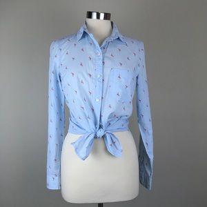 Old Navy flamingo print shirt